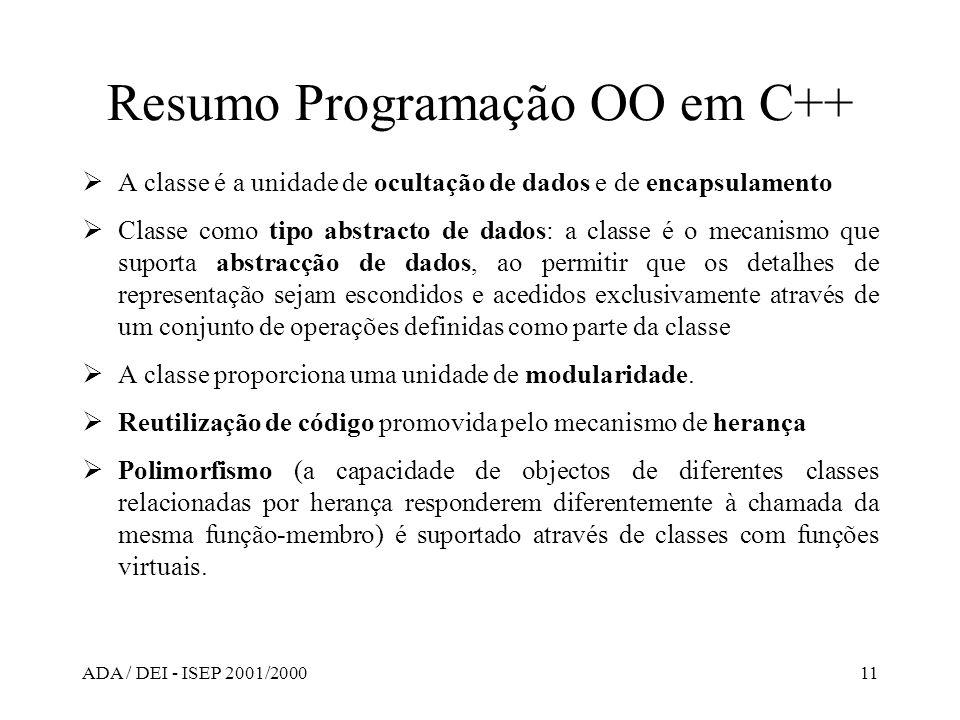 ADA / DEI - ISEP 2001/200011 Resumo Programação OO em C++ A classe é a unidade de ocultação de dados e de encapsulamento Classe como tipo abstracto de