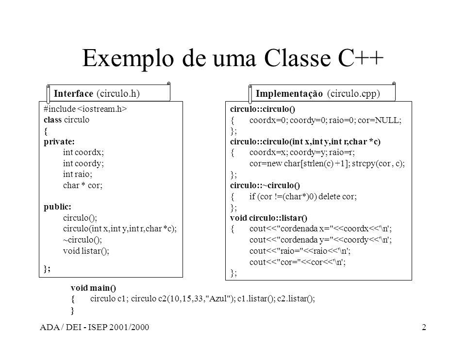 ADA / DEI - ISEP 2001/20002 Exemplo de uma Classe C++ #include class circulo { private: int coordx; int coordy; int raio; char * cor; public: circulo(