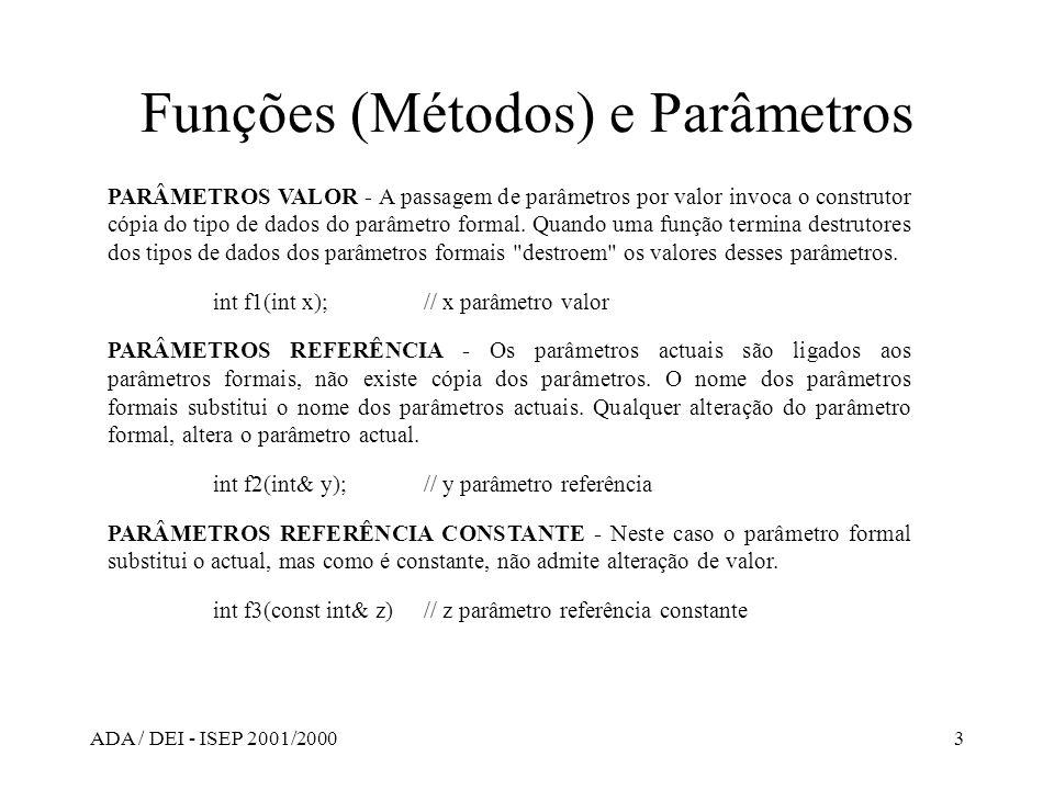 ADA / DEI - ISEP 2001/20003 Funções (Métodos) e Parâmetros PARÂMETROS VALOR - A passagem de parâmetros por valor invoca o construtor cópia do tipo de