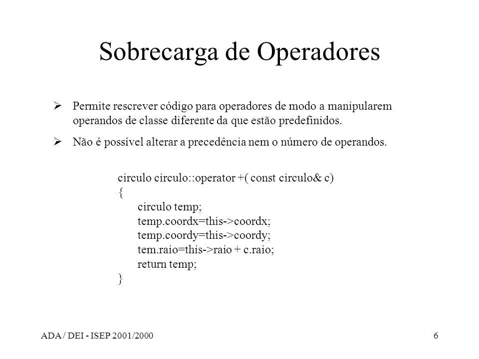 ADA / DEI - ISEP 2001/20006 Sobrecarga de Operadores Permite rescrever código para operadores de modo a manipularem operandos de classe diferente da q