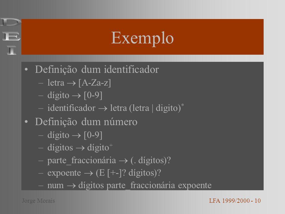 Exemplo Definição dum identificador –letra [A-Za-z] –dígito [0-9] –identificador letra (letra | digito) * Definição dum número –dígito [0-9] –dígitos