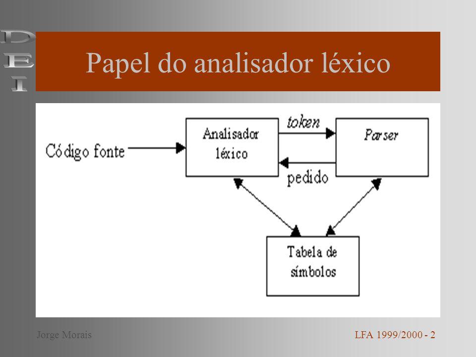 Papel do analisador léxico LFA 1999/2000 - 2Jorge Morais