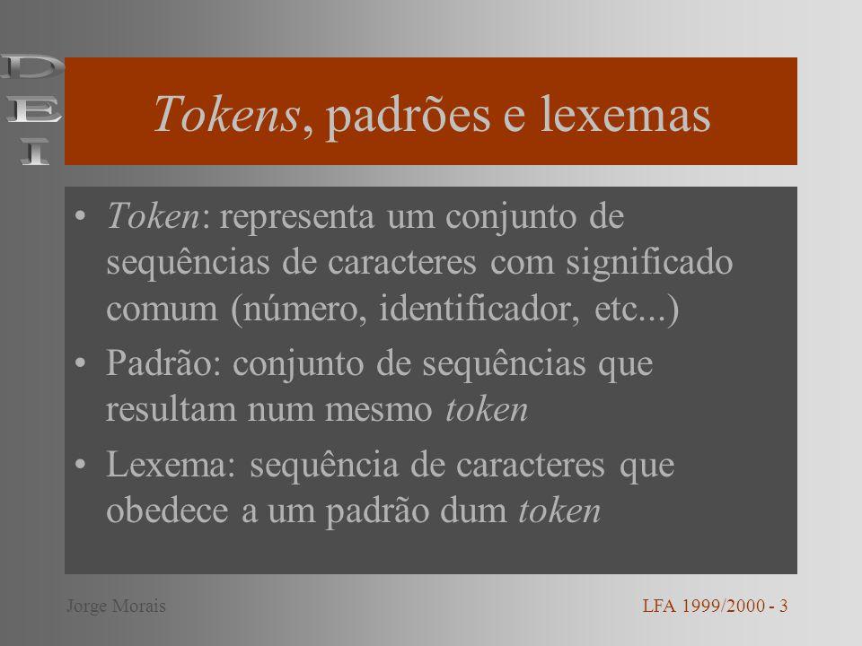 Tokens, padrões e lexemas Token: representa um conjunto de sequências de caracteres com significado comum (número, identificador, etc...) Padrão: conj