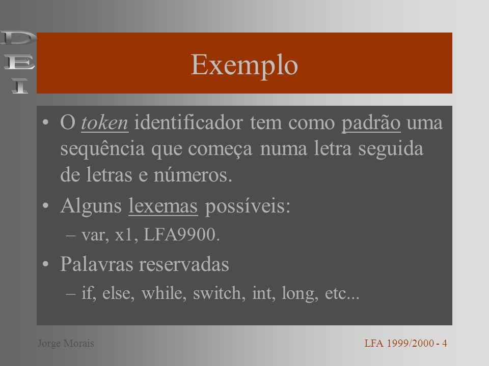 Exemplo O token identificador tem como padrão uma sequência que começa numa letra seguida de letras e números. Alguns lexemas possíveis: –var, x1, LFA