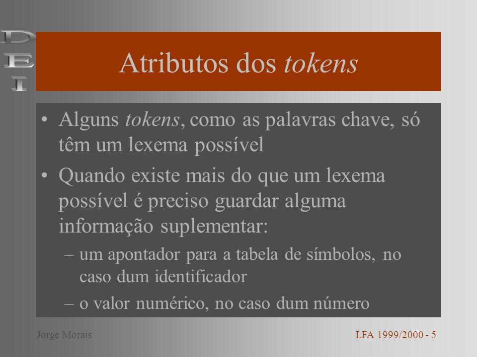 Atributos dos tokens Alguns tokens, como as palavras chave, só têm um lexema possível Quando existe mais do que um lexema possível é preciso guardar a