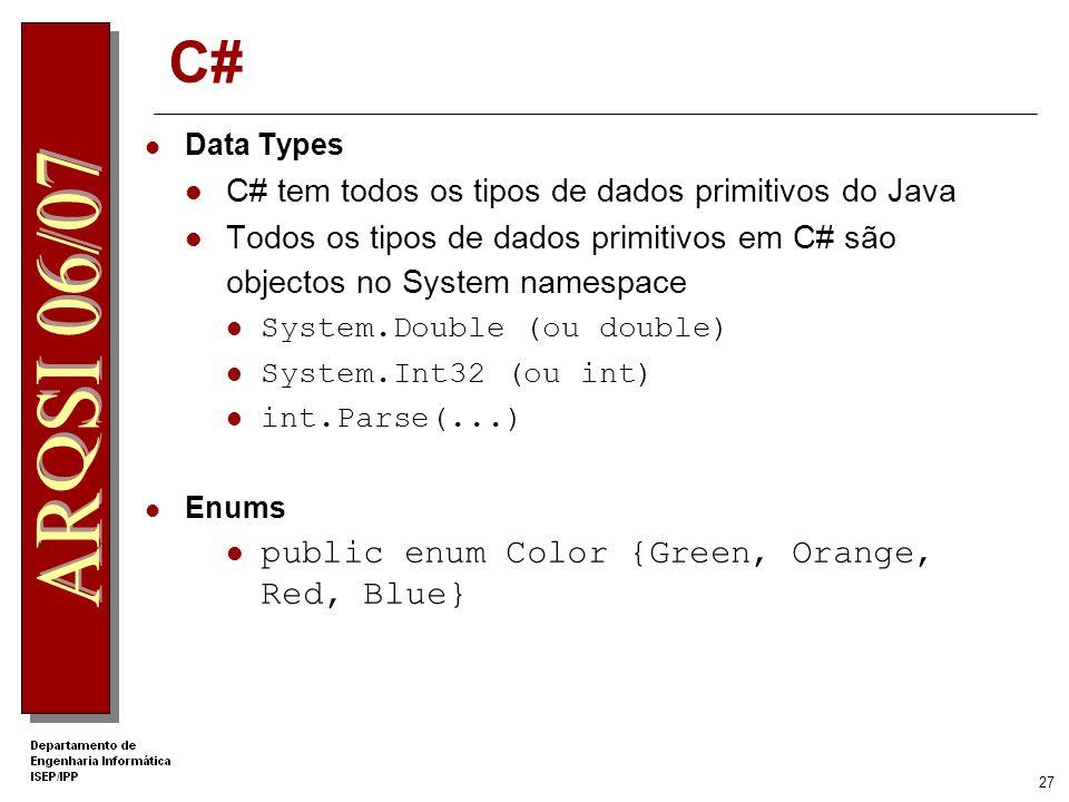 26 C# Namespace (package) Classes organizadas em namespace Agrupamento lógico de classes relacionadas using keyword para aceder a classes noutro names