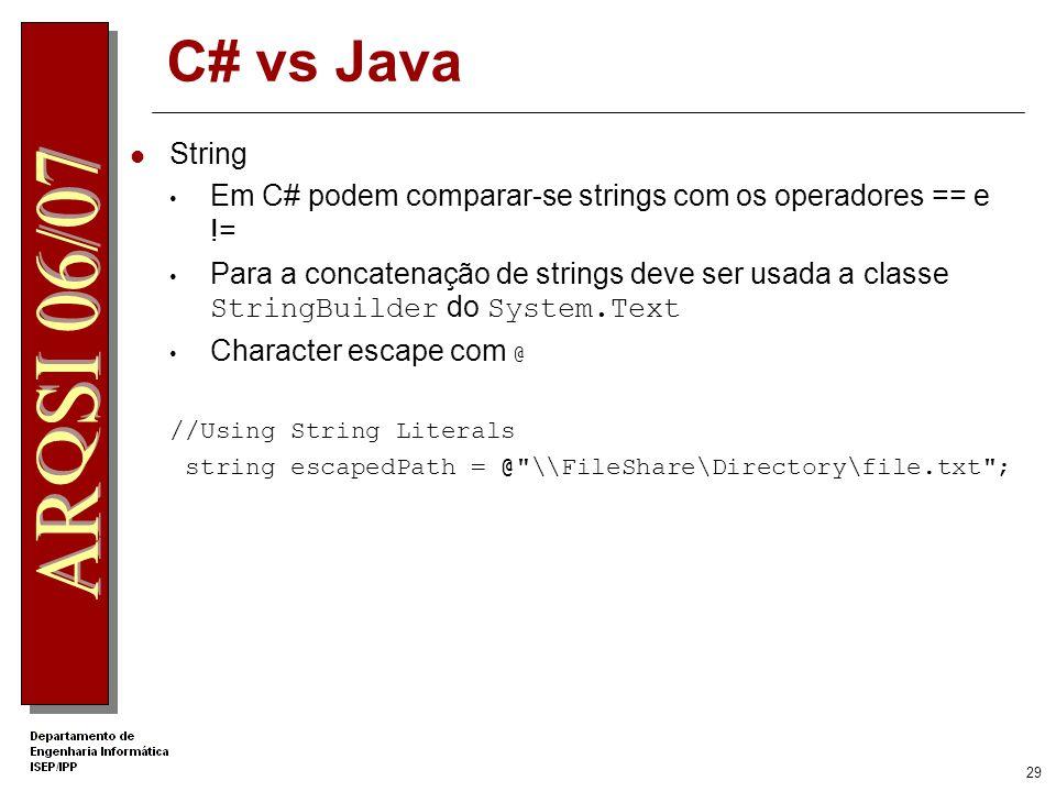 28 Tipos de dados object string sbyte, short, int, long byte, ushort, uint, ulong char float, double, decimal bool Estes tipos são alias para os tipos