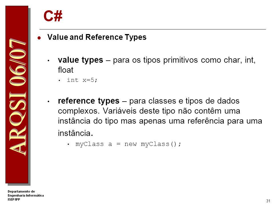 30 Métodos Sintaxe semelhante ao C/C++ Podem ser públicos ou privados Suporta overloading public class MyHelloWorld {... public void SayHello() {... }
