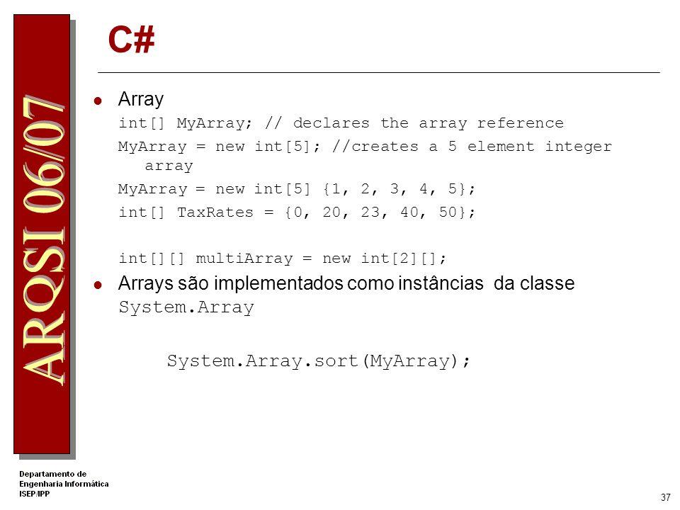 36 Herança Apenas existe herança simples public class MyClassBase {... public void Func() {... } } public class MyClassDeriv : MyClassBase {... public