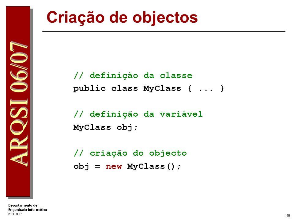 38 C# Herança e classes derivadas Herança e implementação de Interface são definidas pelo mesmo operador : (extends e implements em Java) public class