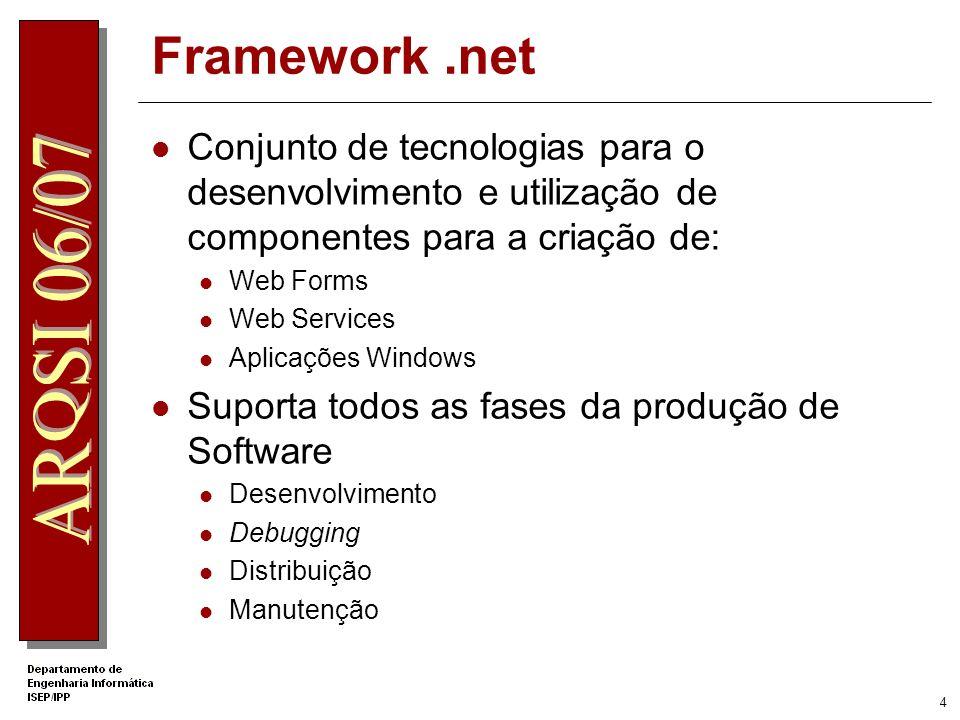 4 Framework.net Conjunto de tecnologias para o desenvolvimento e utilização de componentes para a criação de: Web Forms Web Services Aplicações Windows Suporta todos as fases da produção de Software Desenvolvimento Debugging Distribuição Manutenção