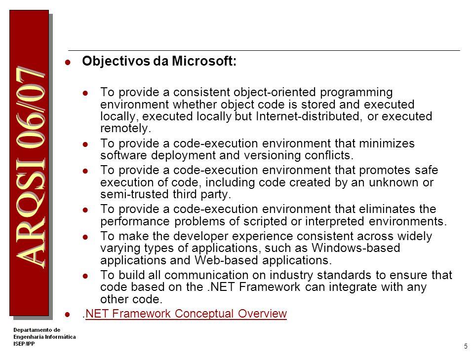 4 Framework.net Conjunto de tecnologias para o desenvolvimento e utilização de componentes para a criação de: Web Forms Web Services Aplicações Window