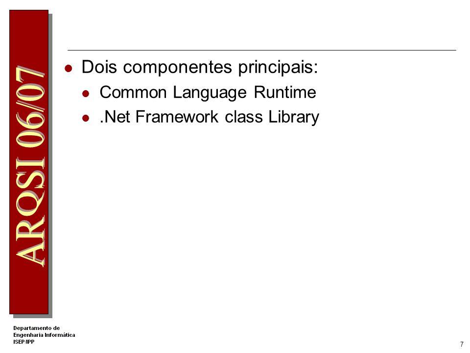 17 Framework Class Library.NET Framework Class Library O namespace System é o namespace raiz dos tipos principais Organização numa hierarquia de nomes System.Collections.ArrayList representa o tipo ArrayList que pertence ao namespace System.Collections