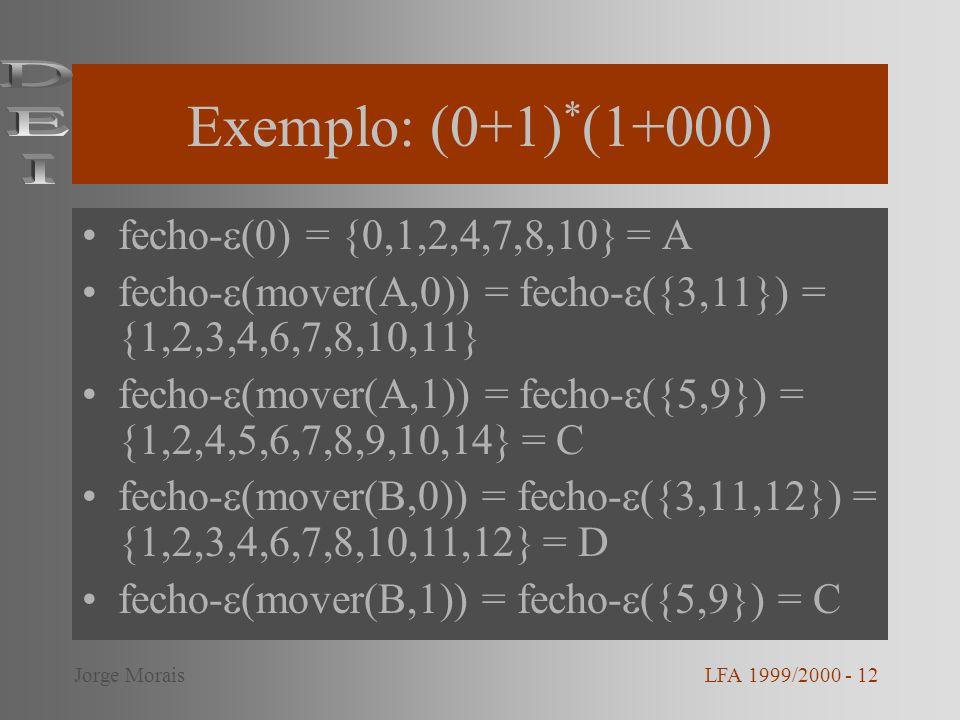 Exemplo: (0+1) * (1+000) fecho- (0) = {0,1,2,4,7,8,10} = A fecho- (mover(A,0)) = fecho- ({3,11}) = {1,2,3,4,6,7,8,10,11} fecho- (mover(A,1)) = fecho-