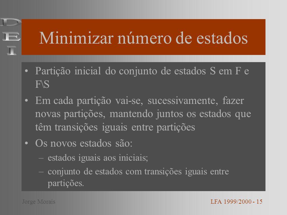 Minimizar número de estados Partição inicial do conjunto de estados S em F e F\S Em cada partição vai-se, sucessivamente, fazer novas partições, mante