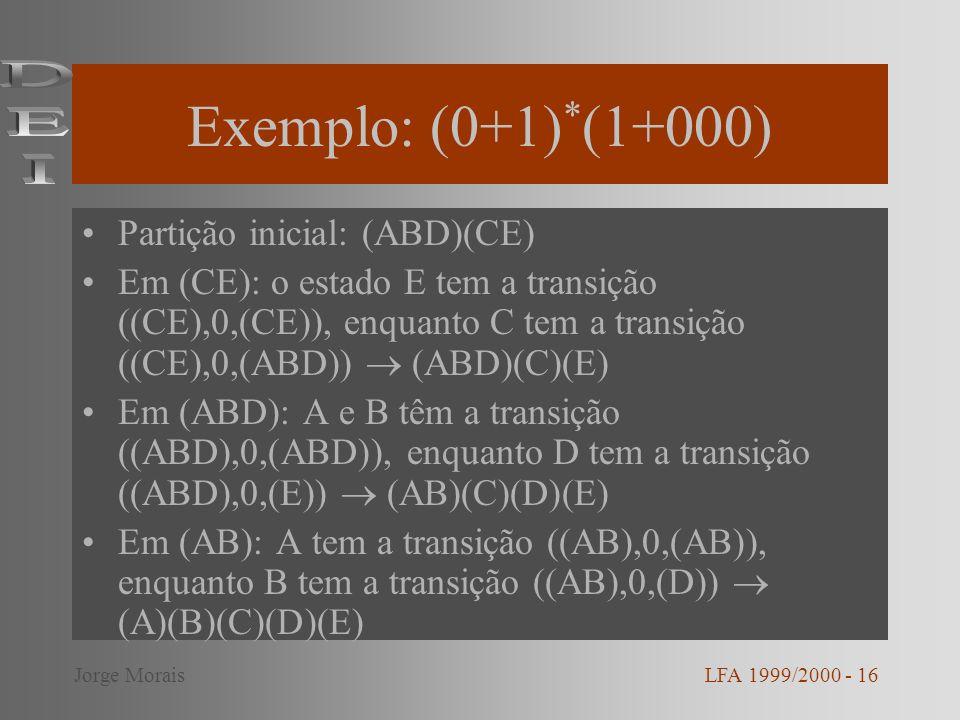 Exemplo: (0+1) * (1+000) Partição inicial: (ABD)(CE) Em (CE): o estado E tem a transição ((CE),0,(CE)), enquanto C tem a transição ((CE),0,(ABD)) (ABD