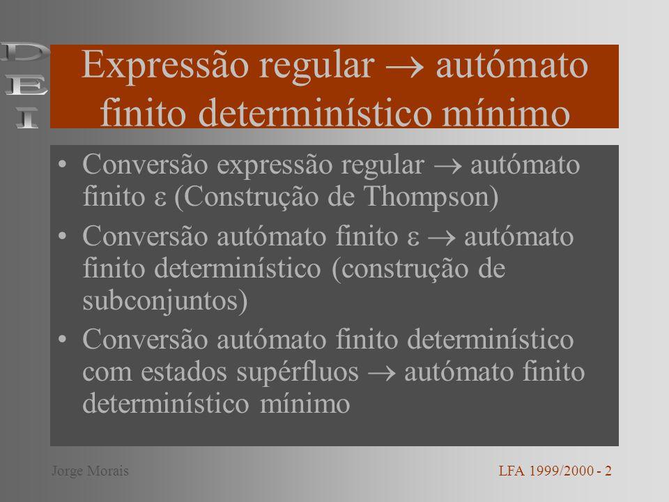 Expressão regular autómato finito determinístico mínimo Conversão expressão regular autómato finito (Construção de Thompson) Conversão autómato finito