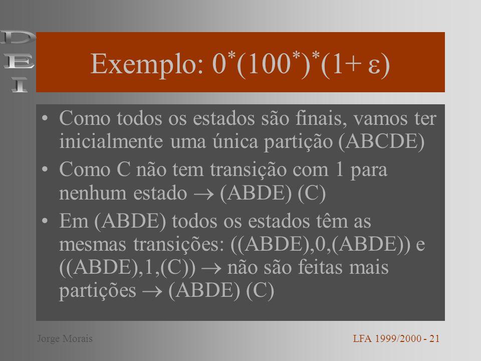 Exemplo: 0 * (100 * ) * (1+ ) Como todos os estados são finais, vamos ter inicialmente uma única partição (ABCDE) Como C não tem transição com 1 para