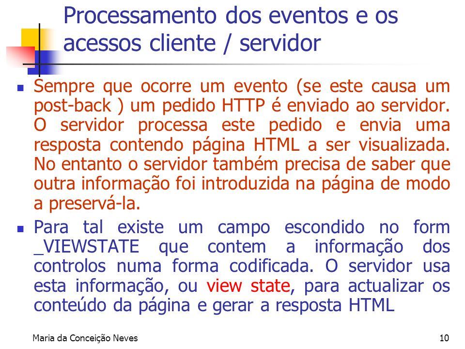 Maria da Conceição Neves10 Processamento dos eventos e os acessos cliente / servidor Sempre que ocorre um evento (se este causa um post-back ) um pedi