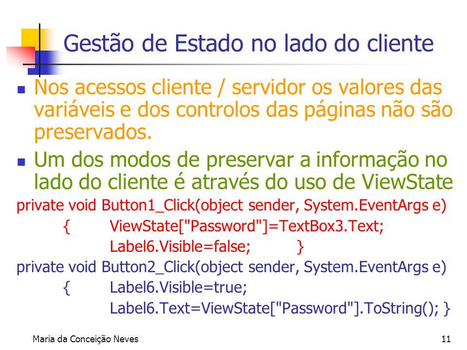 Maria da Conceição Neves11 Gestão de Estado no lado do cliente Nos acessos cliente / servidor os valores das variáveis e dos controlos das páginas não