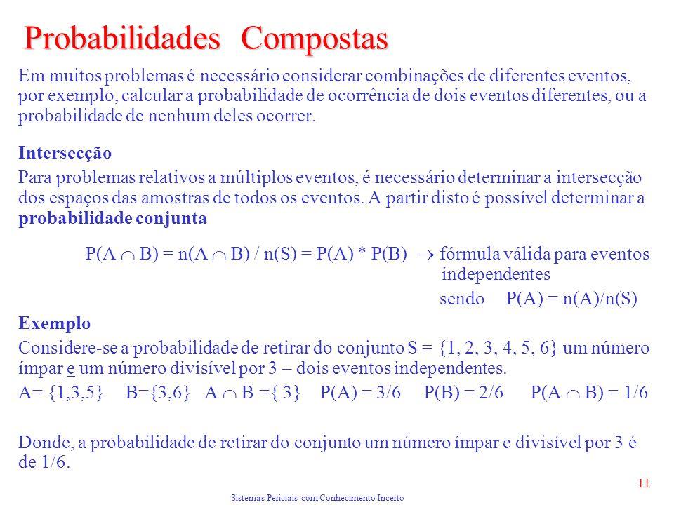 Sistemas Periciais com Conhecimento Incerto 11 Probabilidades Compostas Em muitos problemas é necessário considerar combinações de diferentes eventos, por exemplo, calcular a probabilidade de ocorrência de dois eventos diferentes, ou a probabilidade de nenhum deles ocorrer.