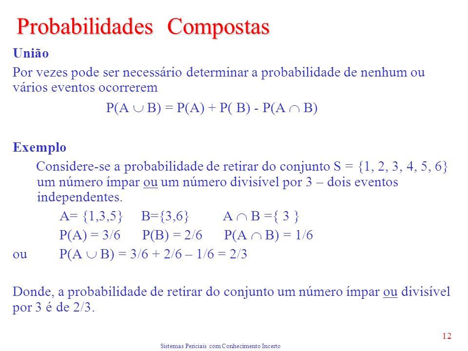 Sistemas Periciais com Conhecimento Incerto 12 Probabilidades Compostas União Por vezes pode ser necessário determinar a probabilidade de nenhum ou vários eventos ocorrerem P(A B) = P(A) + P( B) - P(A B) Exemplo Considere-se a probabilidade de retirar do conjunto S = {1, 2, 3, 4, 5, 6} um número ímpar ou um número divisível por 3 – dois eventos independentes.