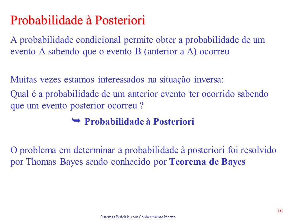 Sistemas Periciais com Conhecimento Incerto 16 Probabilidade à Posteriori A probabilidade condicional permite obter a probabilidade de um evento A sab