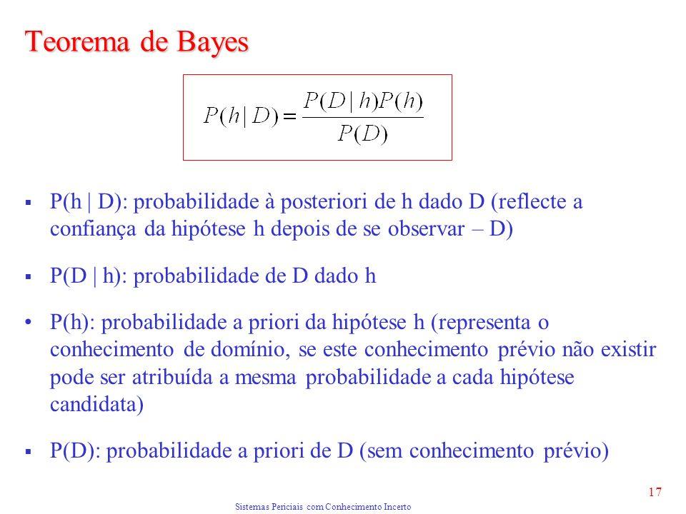Sistemas Periciais com Conhecimento Incerto 17 Teorema de Bayes P(h | D): probabilidade à posteriori de h dado D (reflecte a confiança da hipótese h depois de se observar – D) P(D | h): probabilidade de D dado h P(h): probabilidade a priori da hipótese h (representa o conhecimento de domínio, se este conhecimento prévio não existir pode ser atribuída a mesma probabilidade a cada hipótese candidata) P(D): probabilidade a priori de D (sem conhecimento prévio)