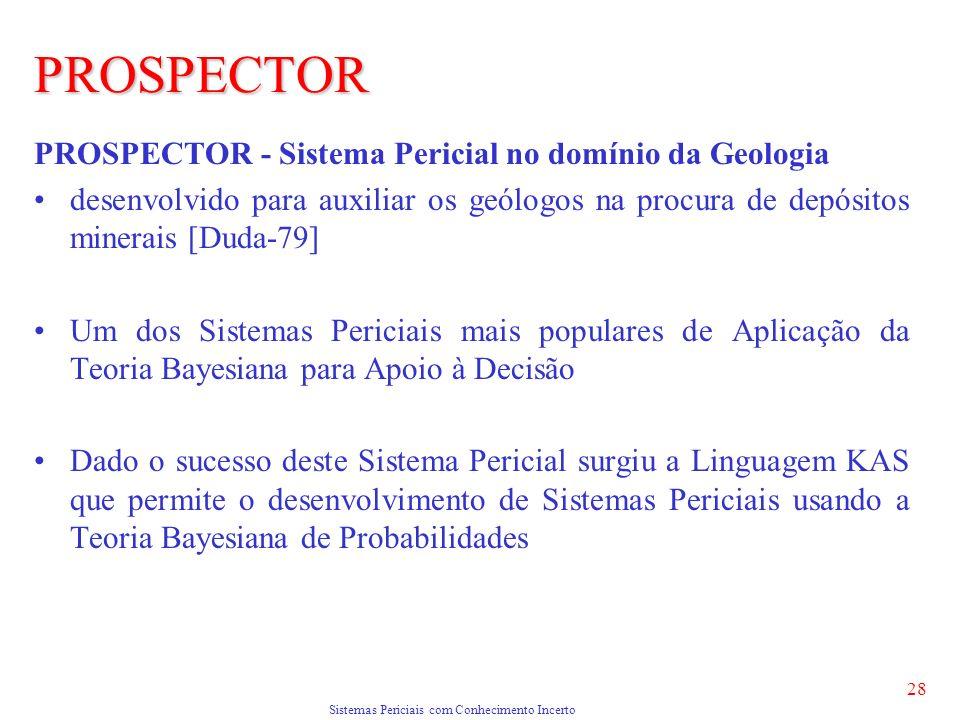 Sistemas Periciais com Conhecimento Incerto 28 PROSPECTOR PROSPECTOR - Sistema Pericial no domínio da Geologia desenvolvido para auxiliar os geólogos