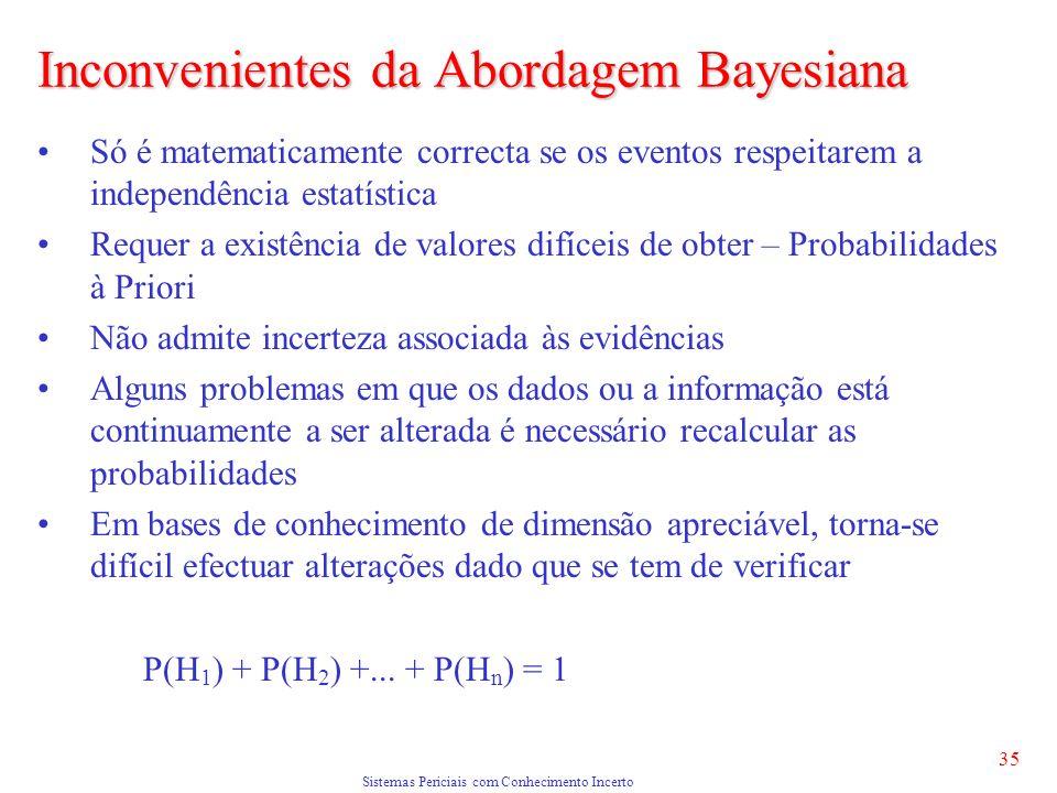 Sistemas Periciais com Conhecimento Incerto 35 Inconvenientes da Abordagem Bayesiana Só é matematicamente correcta se os eventos respeitarem a independência estatística Requer a existência de valores difíceis de obter – Probabilidades à Priori Não admite incerteza associada às evidências Alguns problemas em que os dados ou a informação está continuamente a ser alterada é necessário recalcular as probabilidades Em bases de conhecimento de dimensão apreciável, torna-se difícil efectuar alterações dado que se tem de verificar P(H 1 ) + P(H 2 ) +...