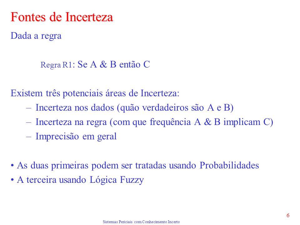Sistemas Periciais com Conhecimento Incerto 6 Fontes de Incerteza Dada a regra Regra R1 : Se A & B então C Existem três potenciais áreas de Incerteza: –Incerteza nos dados (quão verdadeiros são A e B) –Incerteza na regra (com que frequência A & B implicam C) –Imprecisão em geral As duas primeiras podem ser tratadas usando Probabilidades A terceira usando Lógica Fuzzy