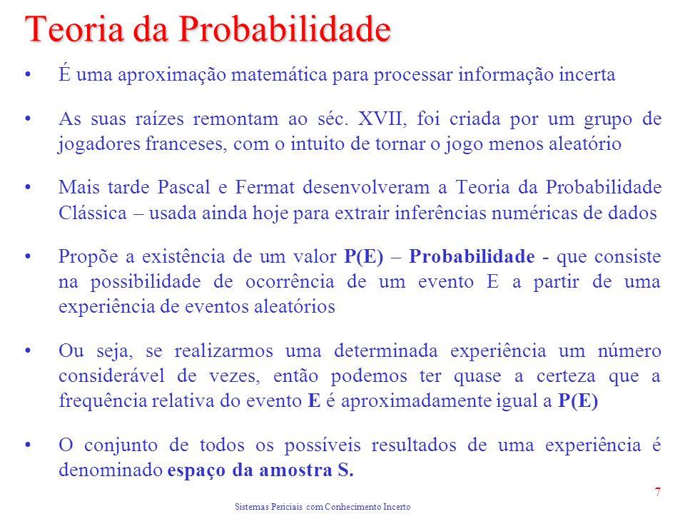 Sistemas Periciais com Conhecimento Incerto 7 Teoria da Probabilidade É uma aproximação matemática para processar informação incerta As suas raízes remontam ao séc.