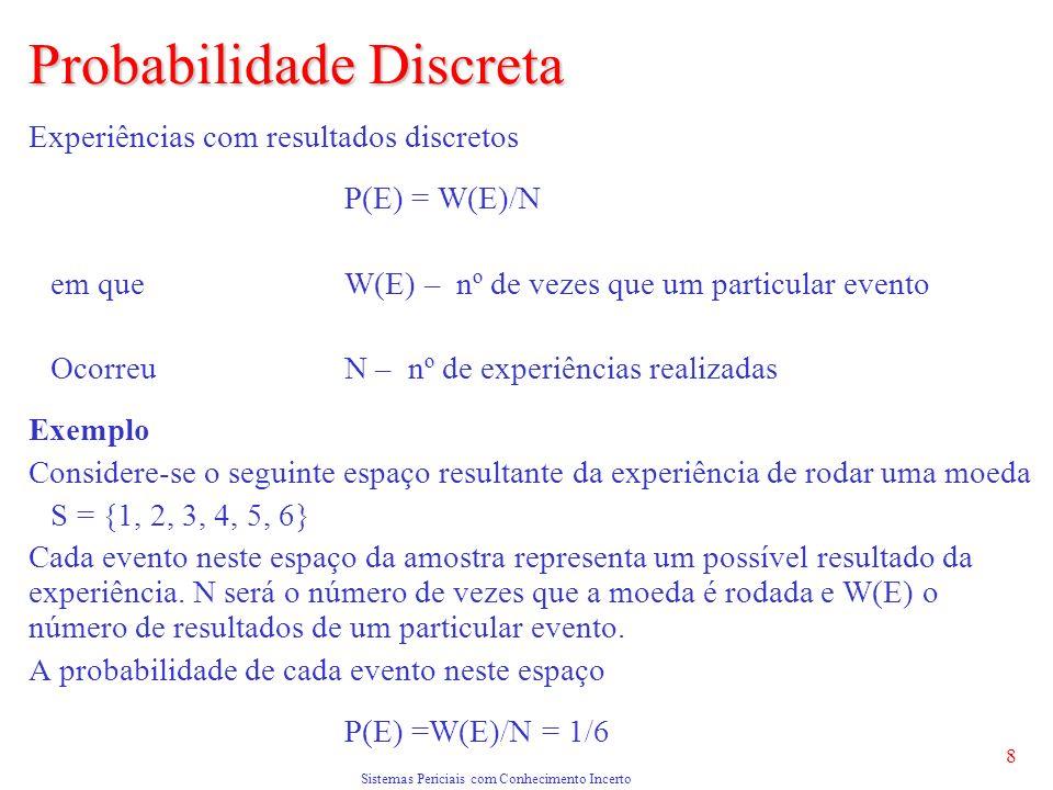 Sistemas Periciais com Conhecimento Incerto 8 Probabilidade Discreta Experiências com resultados discretos P(E) = W(E)/N em que W(E) – nº de vezes que