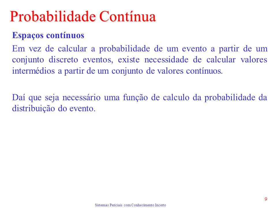 Sistemas Periciais com Conhecimento Incerto 9 Probabilidade Contínua Espaços contínuos Em vez de calcular a probabilidade de um evento a partir de um