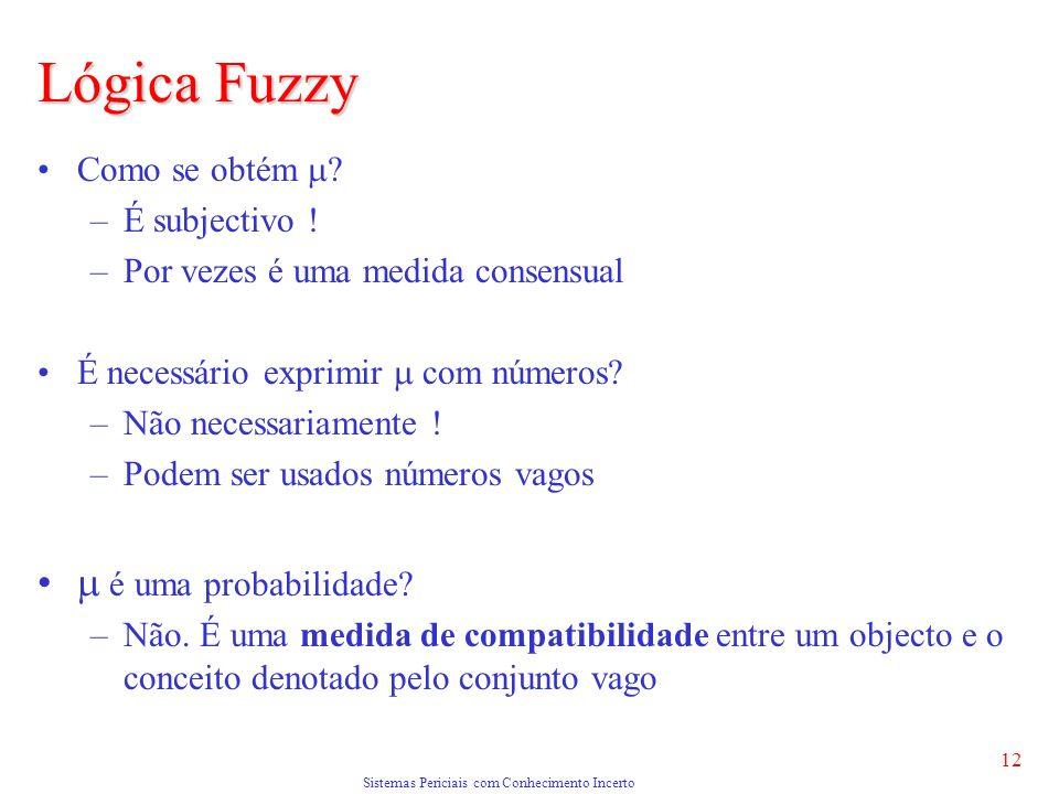 Sistemas Periciais com Conhecimento Incerto 12 Lógica Fuzzy Como se obtém .