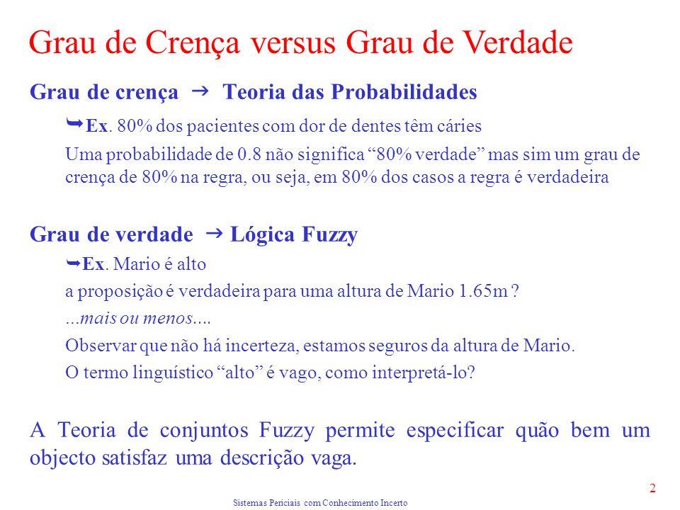 Sistemas Periciais com Conhecimento Incerto 2 Grau de crença Teoria das Probabilidades Ex.