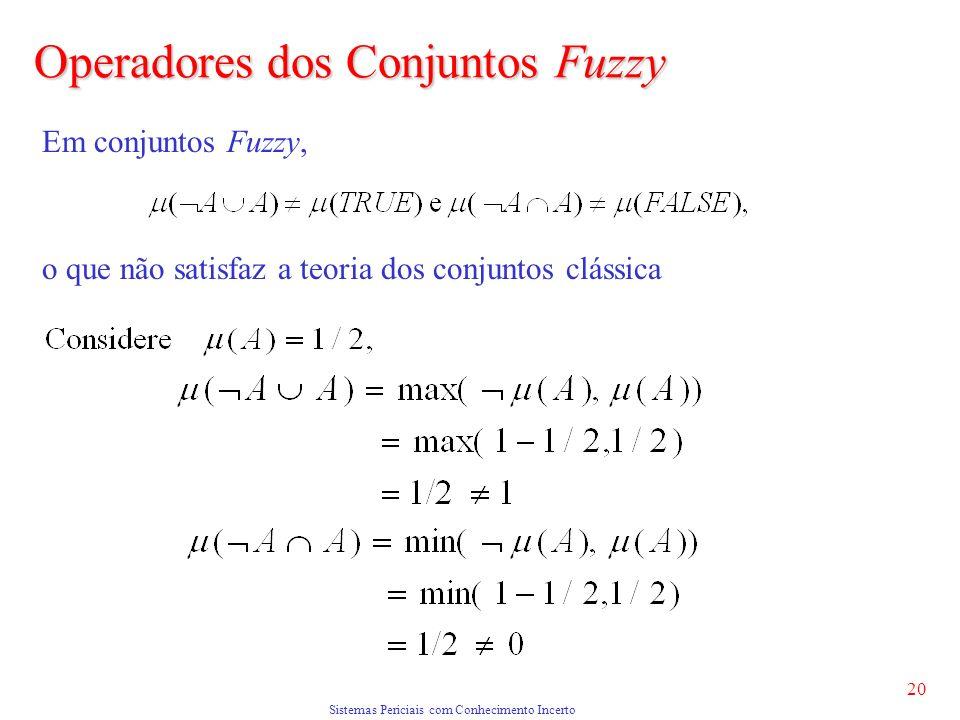 Sistemas Periciais com Conhecimento Incerto 20 Em conjuntos Fuzzy, o que não satisfaz a teoria dos conjuntos clássica Operadores dos Conjuntos Fuzzy