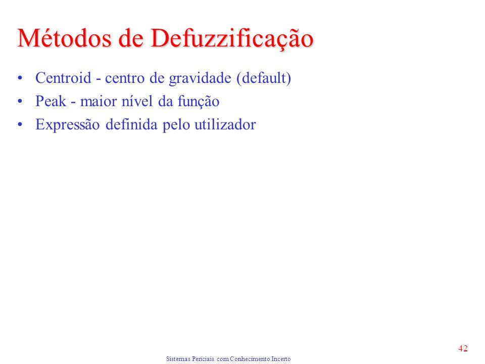 Sistemas Periciais com Conhecimento Incerto 42 Centroid - centro de gravidade (default) Peak - maior nível da função Expressão definida pelo utilizador Métodos de Defuzzificação