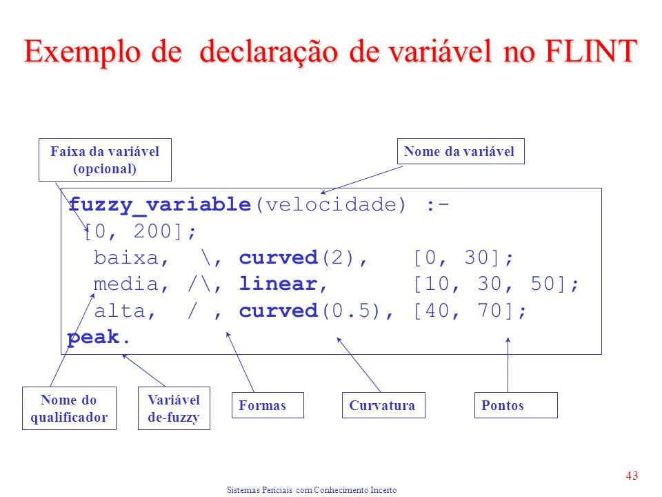 Sistemas Periciais com Conhecimento Incerto 43 fuzzy_variable(velocidade) :- [0, 200]; baixa, \, curved(2), [0, 30]; media, /\, linear, [10, 30, 50]; alta, /, curved(0.5), [40, 70]; peak.
