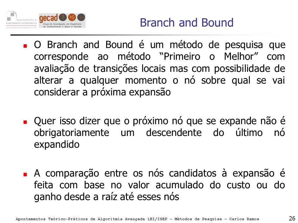 Apontamentos Teórico-Práticos de Algoritmia Avançada LEI/ISEP – Métodos de Pesquisa – Carlos Ramos 26 Branch and Bound O Branch and Bound é um método