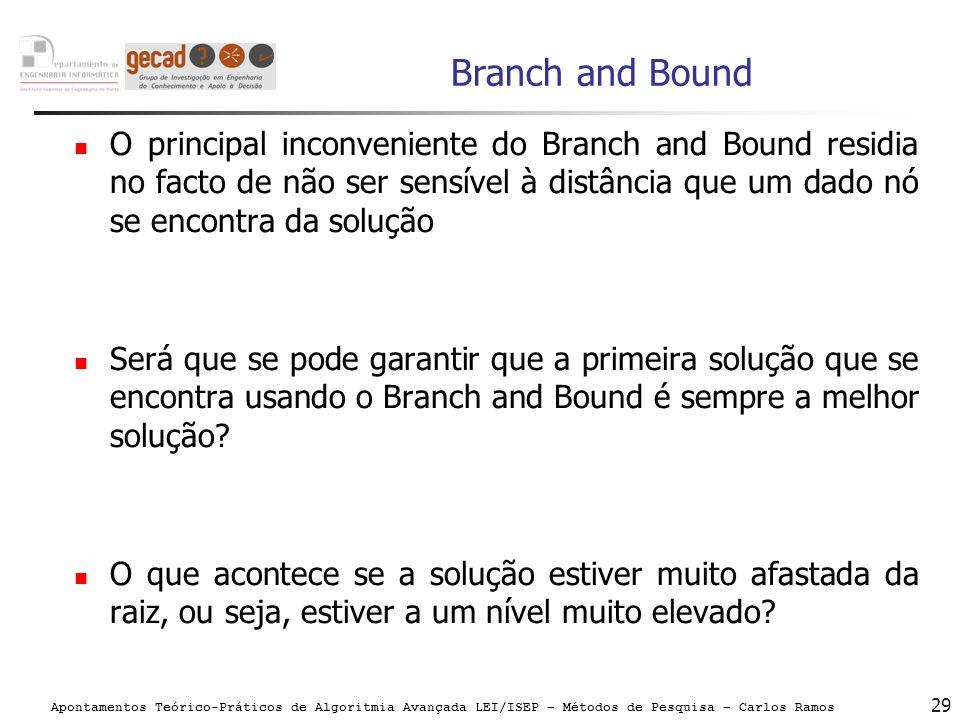 Apontamentos Teórico-Práticos de Algoritmia Avançada LEI/ISEP – Métodos de Pesquisa – Carlos Ramos 29 Branch and Bound O principal inconveniente do Br