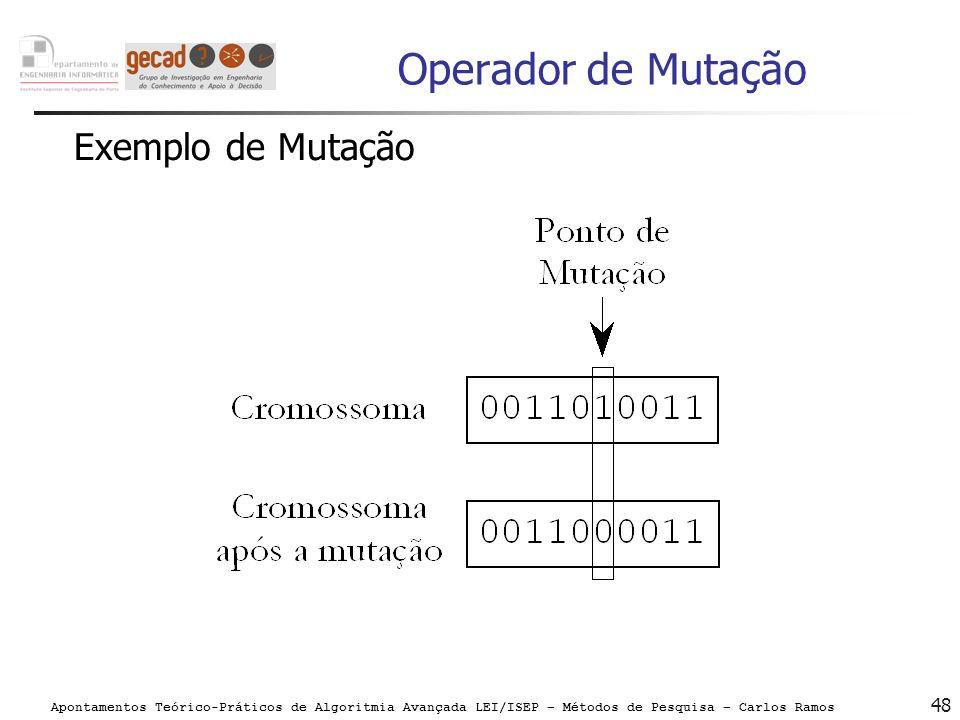 Apontamentos Teórico-Práticos de Algoritmia Avançada LEI/ISEP – Métodos de Pesquisa – Carlos Ramos 48 Operador de Mutação Exemplo de Mutação