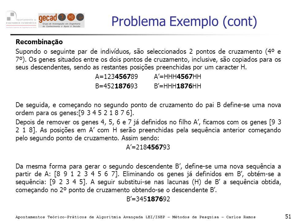 Apontamentos Teórico-Práticos de Algoritmia Avançada LEI/ISEP – Métodos de Pesquisa – Carlos Ramos 51 Problema Exemplo (cont) Recombinação Supondo o s