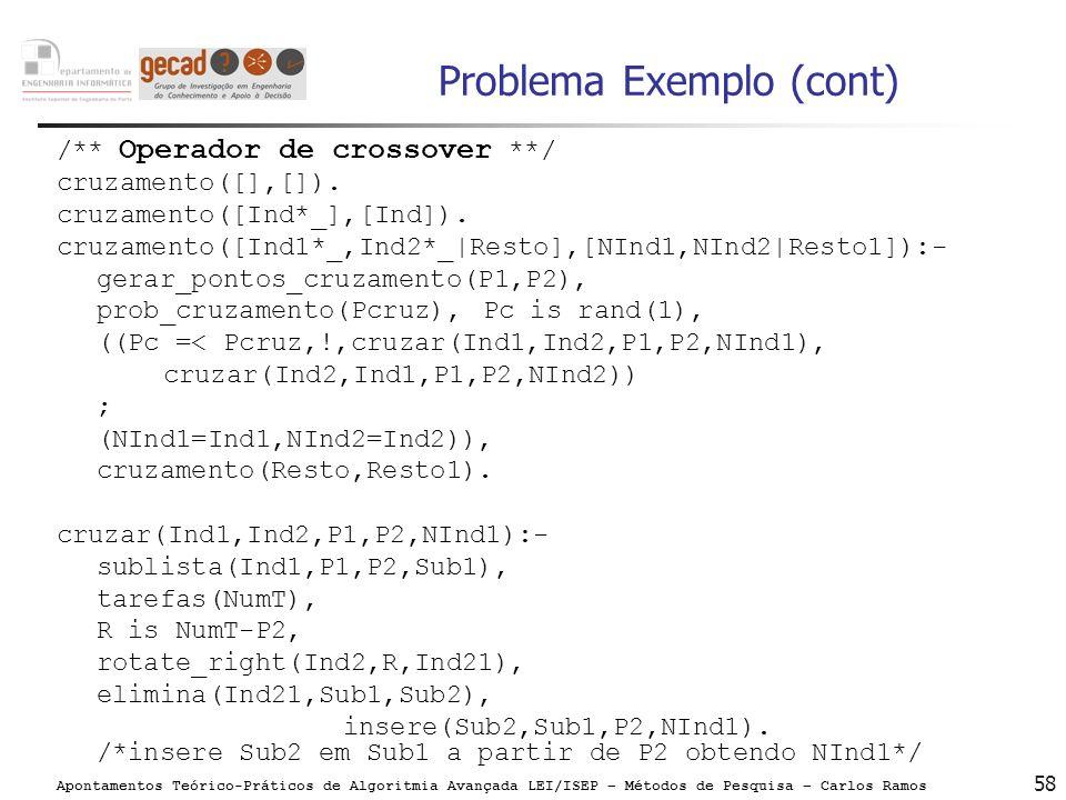 Apontamentos Teórico-Práticos de Algoritmia Avançada LEI/ISEP – Métodos de Pesquisa – Carlos Ramos 58 Problema Exemplo (cont) /** Operador de crossove