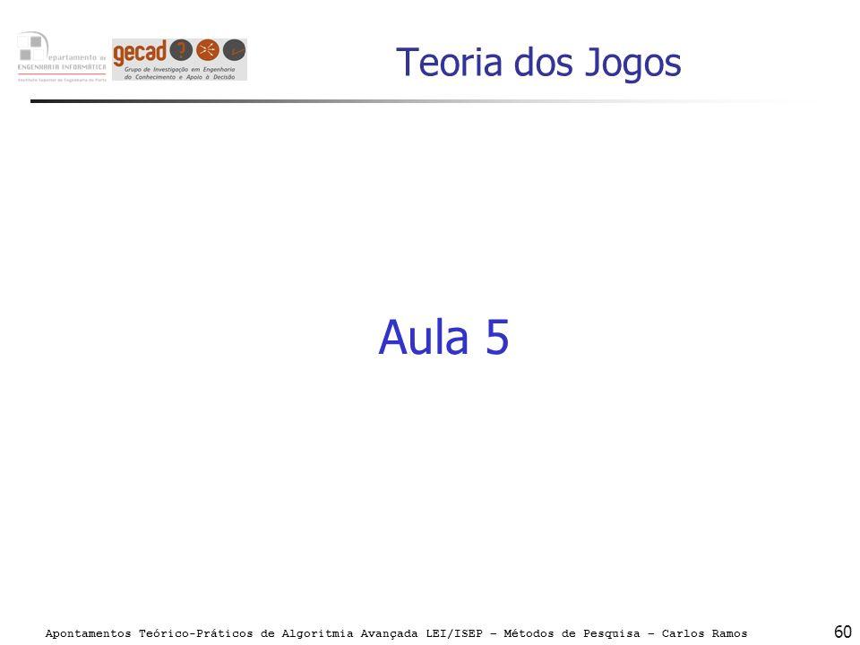 Apontamentos Teórico-Práticos de Algoritmia Avançada LEI/ISEP – Métodos de Pesquisa – Carlos Ramos 60 Teoria dos Jogos Aula 5
