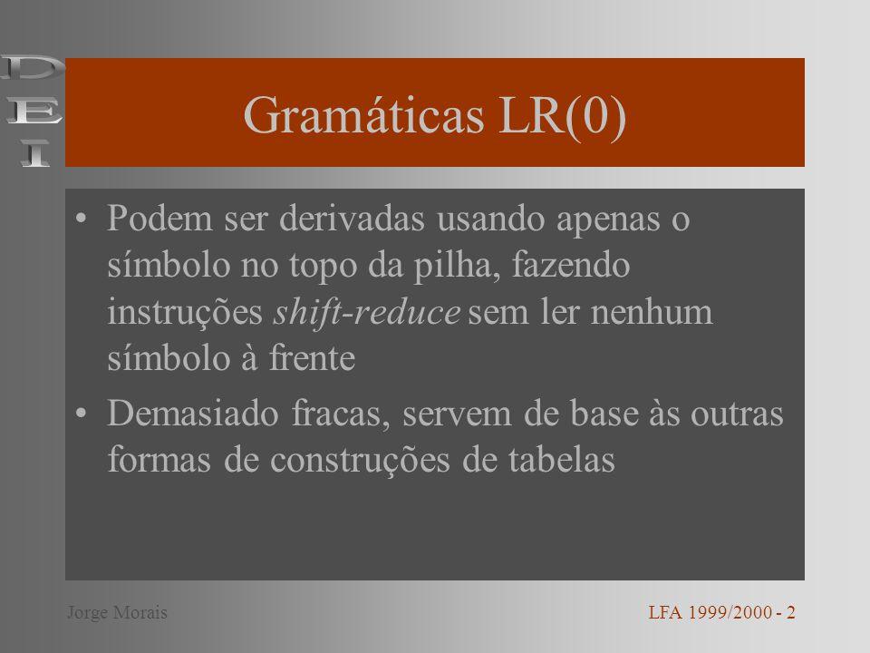 LALR(1) – LookAhead LR(1) LALR(1) – diminui número de estados relativamente a LR(1) e é mais forte que SLR Junta qualquer par de estados iguais que apenas tenham o símbolo de lookahead diferente LFA 1999/2000 - 13Jorge Morais