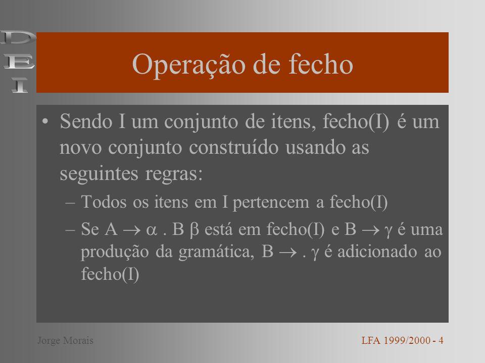 Operação de fecho Sendo I um conjunto de itens, fecho(I) é um novo conjunto construído usando as seguintes regras: –Todos os itens em I pertencem a fecho(I) –Se A.