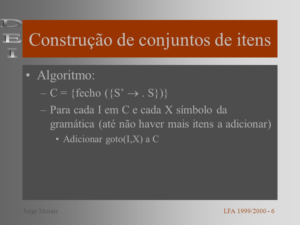 Construção de conjuntos de itens Algoritmo: –C = {fecho ({S.