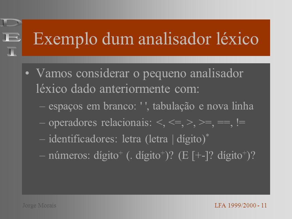 Exemplo dum analisador léxico Vamos considerar o pequeno analisador léxico dado anteriormente com: –espaços em branco: , tabulação e nova linha –operadores relacionais:, >=, ==, != –identificadores: letra (letra   dígito) * –números: dígito + (.