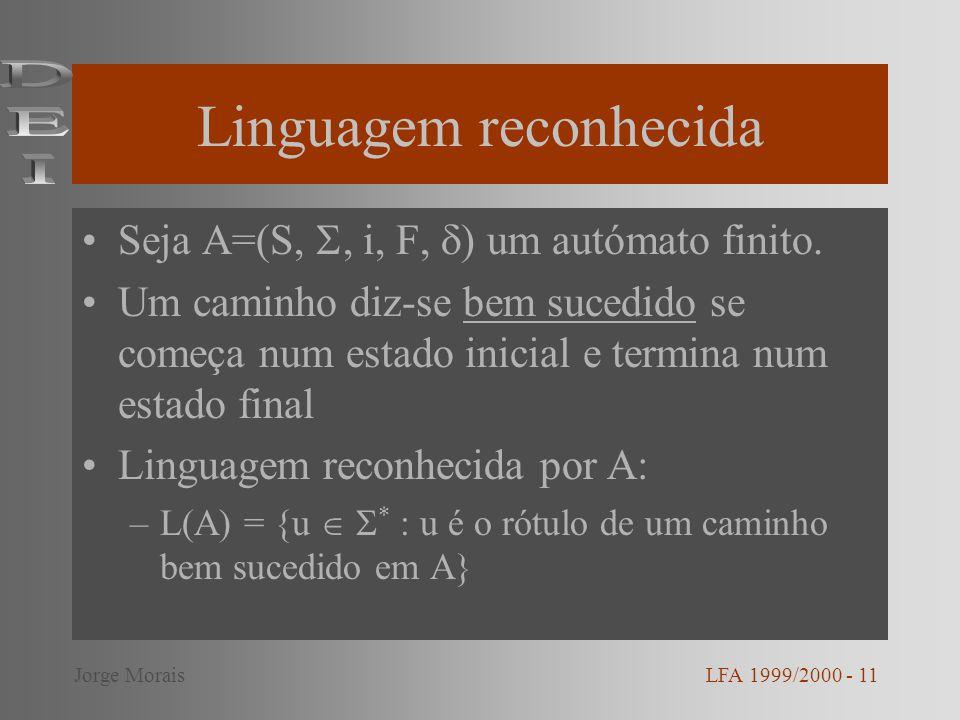 Linguagem reconhecida Seja A=(S,, i, F, ) um autómato finito. Um caminho diz-se bem sucedido se começa num estado inicial e termina num estado final L